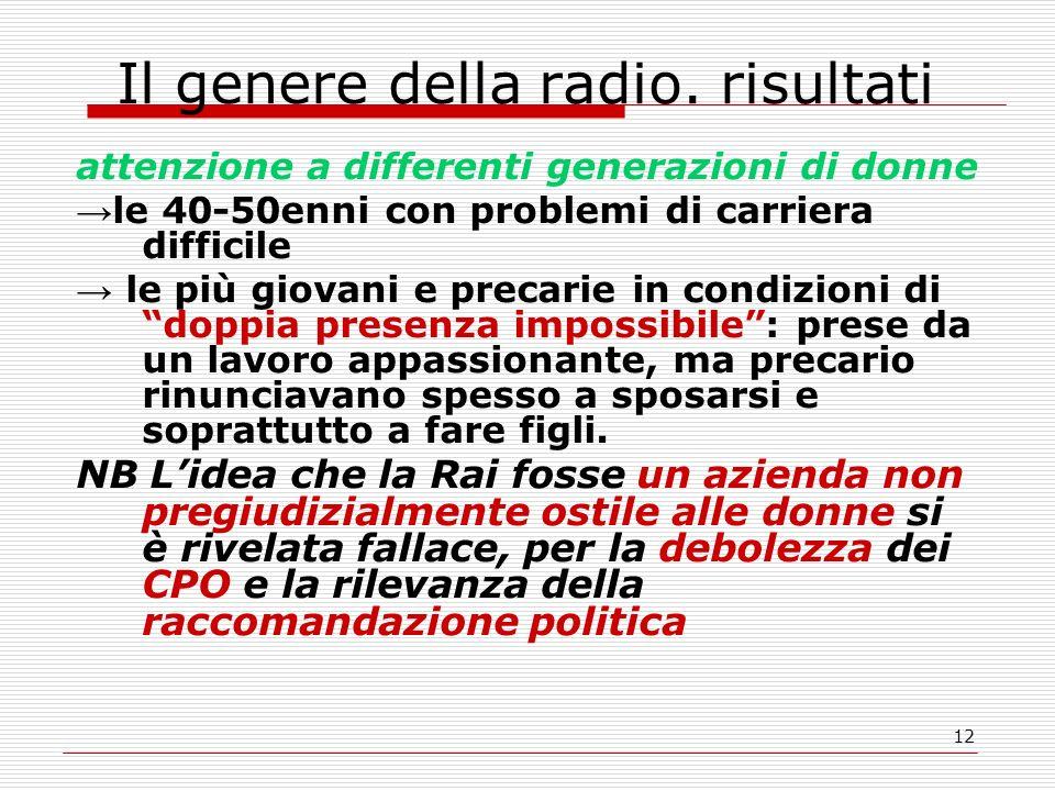 12 Il genere della radio.