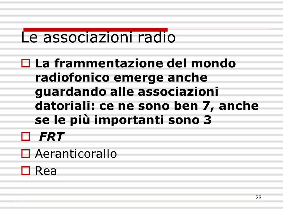 28 Le associazioni radio  La frammentazione del mondo radiofonico emerge anche guardando alle associazioni datoriali: ce ne sono ben 7, anche se le più importanti sono 3  FRT  Aeranticorallo  Rea