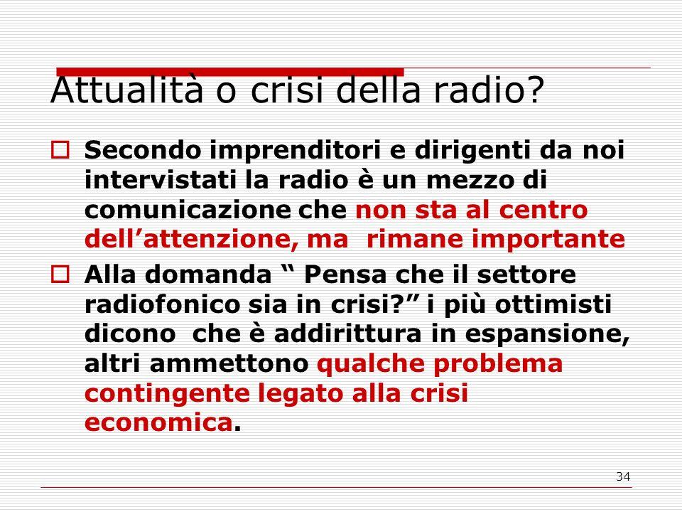 34 Attualità o crisi della radio.