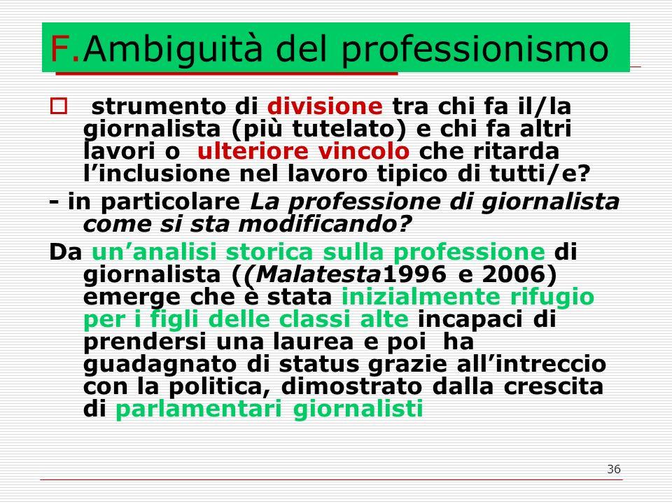 36 F.Ambiguità del professionismo  strumento di divisione tra chi fa il/la giornalista (più tutelato) e chi fa altri lavori o ulteriore vincolo che ritarda l'inclusione nel lavoro tipico di tutti/e.