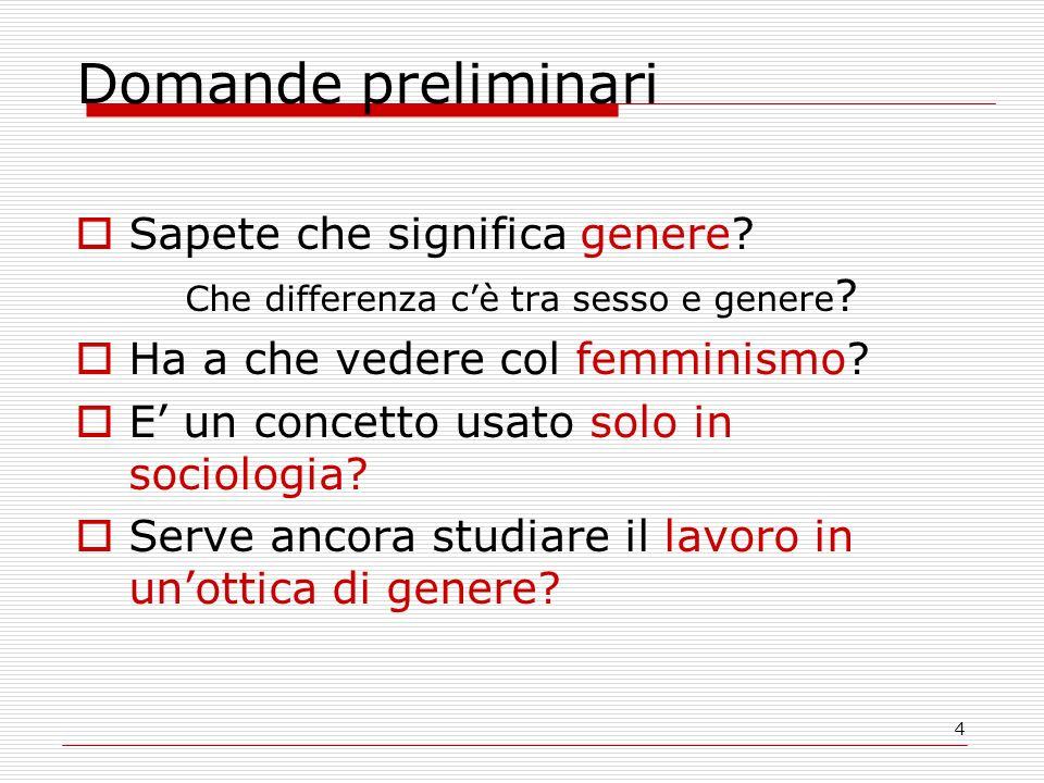 4 Domande preliminari  Sapete che significa genere.