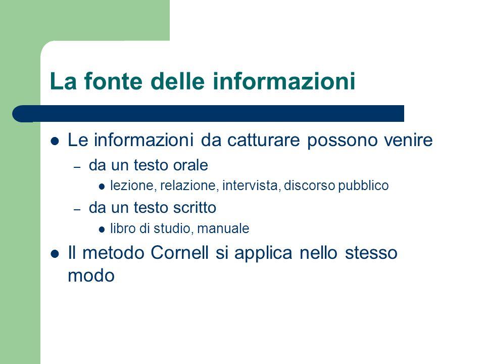 La fonte delle informazioni Le informazioni da catturare possono venire – da un testo orale lezione, relazione, intervista, discorso pubblico – da un