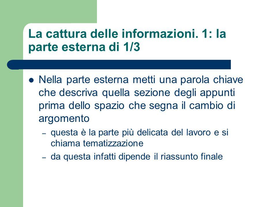 La cattura delle informazioni.