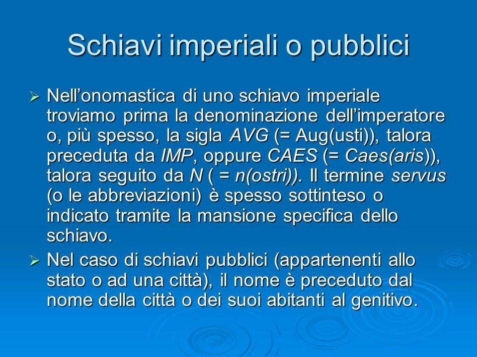 Schiavi imperiali o pubblici  Nell'onomastica di uno schiavo imperiale troviamo prima la denominazione dell'imperatore o, più spesso, la sigla AVG (=