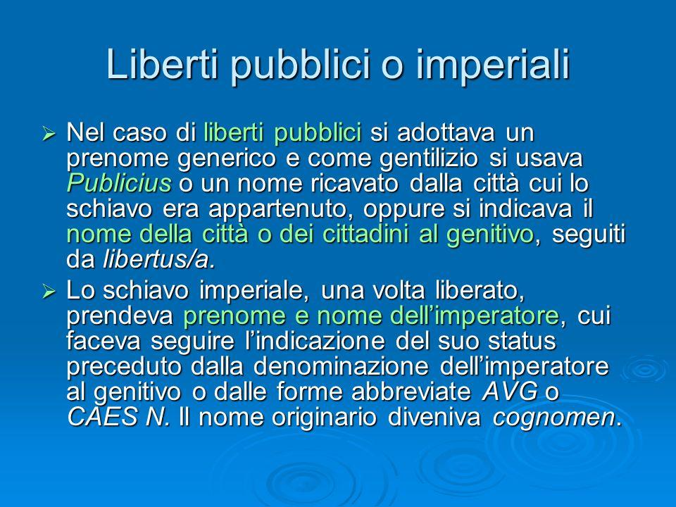 Liberti pubblici o imperiali  Nel caso di liberti pubblici si adottava un prenome generico e come gentilizio si usava Publicius o un nome ricavato da