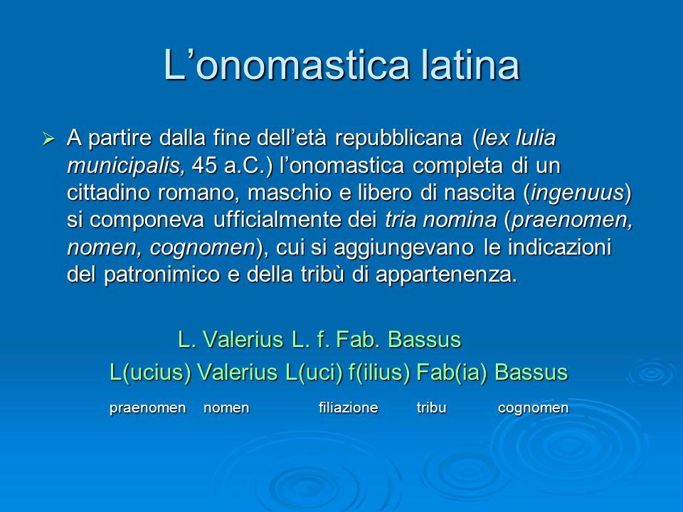 L'onomastica latina  A partire dalla fine dell'età repubblicana (lex Iulia municipalis, 45 a.C.) l'onomastica completa di un cittadino romano, maschi