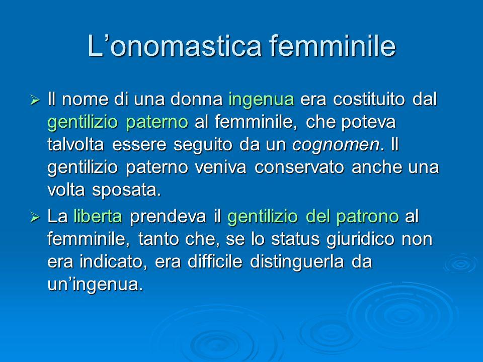 L'onomastica femminile  Il nome di una donna ingenua era costituito dal gentilizio paterno al femminile, che poteva talvolta essere seguito da un cog