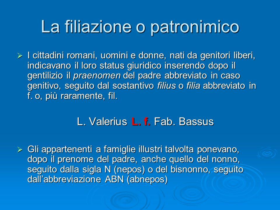 La filiazione o patronimico  I cittadini romani, uomini e donne, nati da genitori liberi, indicavano il loro status giuridico inserendo dopo il genti