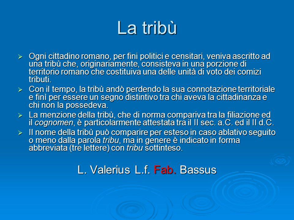 La tribù  Ogni cittadino romano, per fini politici e censitari, veniva ascritto ad una tribù che, originariamente, consisteva in una porzione di terr