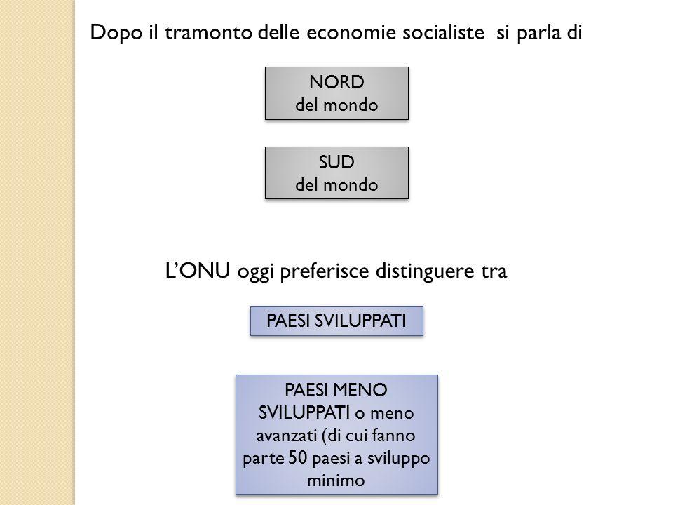 Dopo il tramonto delle economie socialiste si parla di NORD del mondo NORD del mondo SUD del mondo SUD del mondo L'ONU oggi preferisce distinguere tra