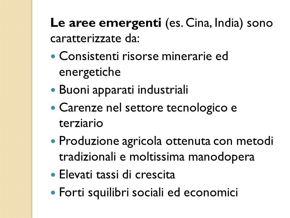 Le aree emergenti (es. Cina, India) sono caratterizzate da: Consistenti risorse minerarie ed energetiche Buoni apparati industriali Carenze nel settor