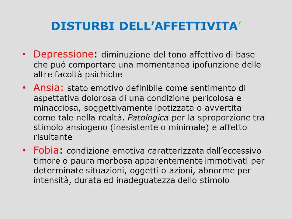 DISTURBI DELL'AFFETTIVITA' Depressione: diminuzione del tono affettivo di base che può comportare una momentanea ipofunzione delle altre facoltà psich