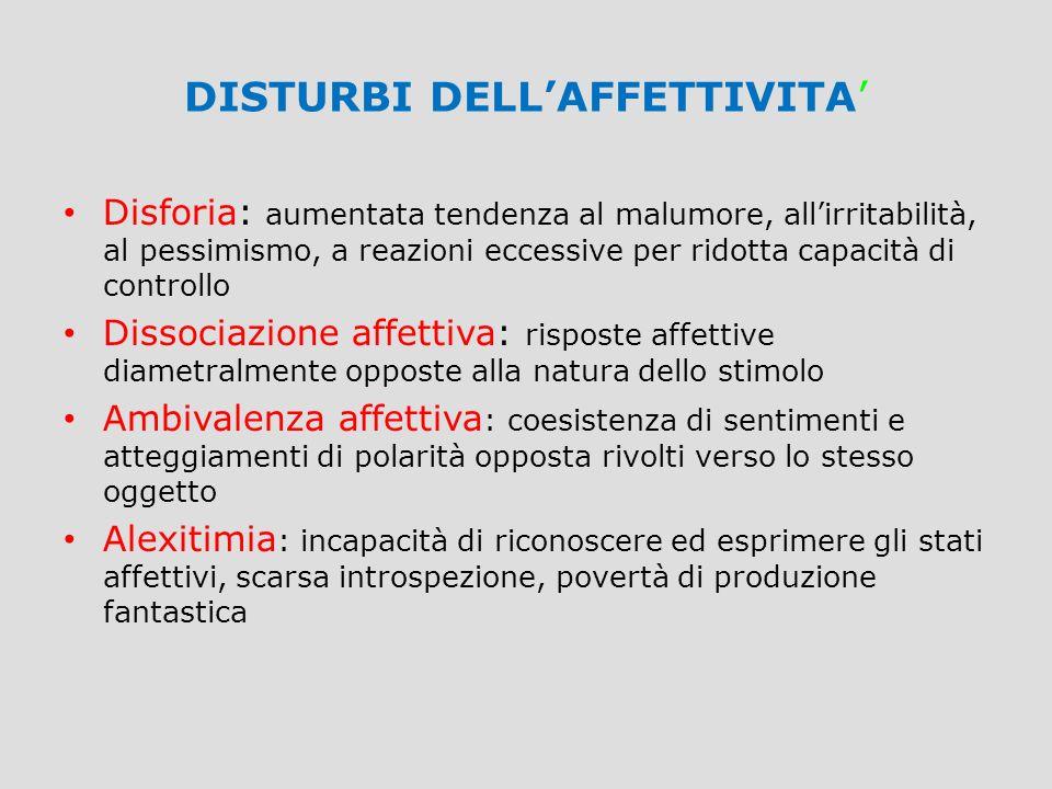 DISTURBI DELL'AFFETTIVITA' Disforia: aumentata tendenza al malumore, all'irritabilità, al pessimismo, a reazioni eccessive per ridotta capacità di con