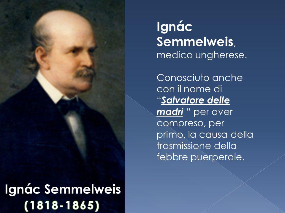 """Ignác Semmelweis, medico ungherese. Conosciuto anche con il nome di """" Salvatore delle madri """" per aver compreso, per primo, la causa della trasmission"""