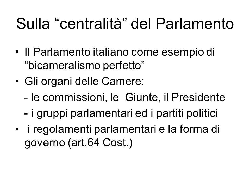 """Sulla """"centralità"""" del Parlamento Il Parlamento italiano come esempio di """"bicameralismo perfetto"""" Gli organi delle Camere: - le commissioni, le Giunte"""