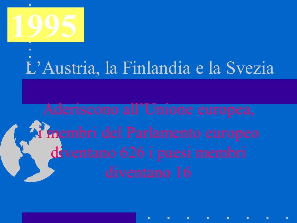L'Austria, la Finlandia e la Svezia Aderiscono all'Unione europea, i membri del Parlamento europeo diventano 626 i paesi membri diventano 16 1995
