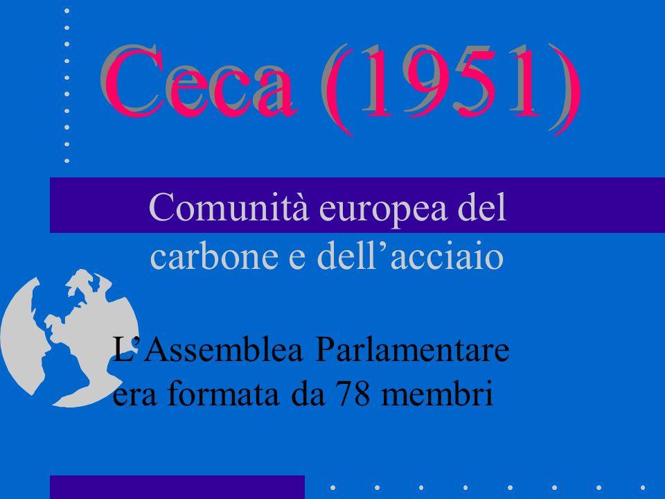 Ceca (1951) Comunità europea del carbone e dell'acciaio L'Assemblea Parlamentare era formata da 78 membri