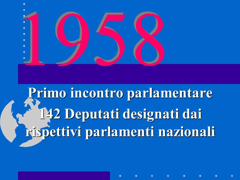 1958 Primo incontro parlamentare 142 Deputati designati dai rispettivi parlamenti nazionali