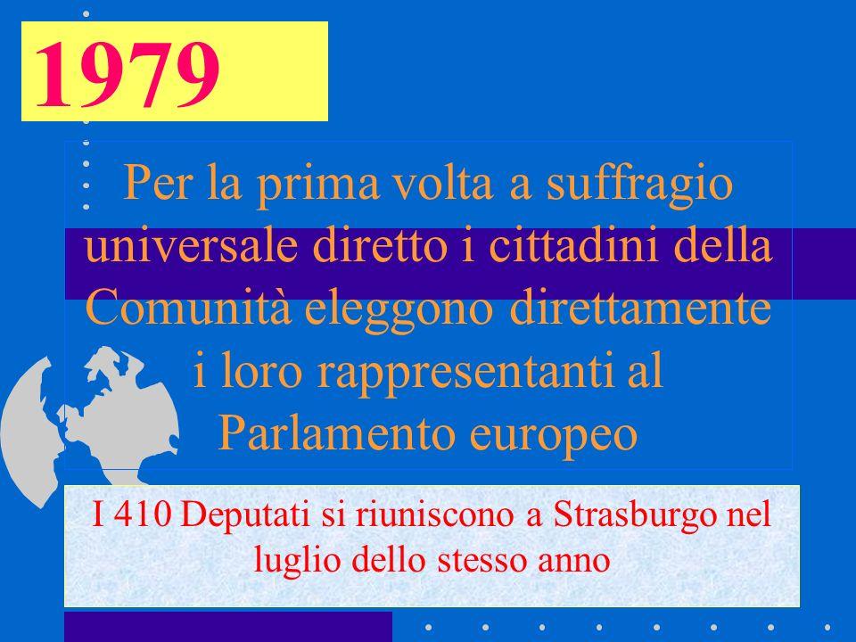Per la prima volta a suffragio universale diretto i cittadini della Comunità eleggono direttamente i loro rappresentanti al Parlamento europeo I 410 D