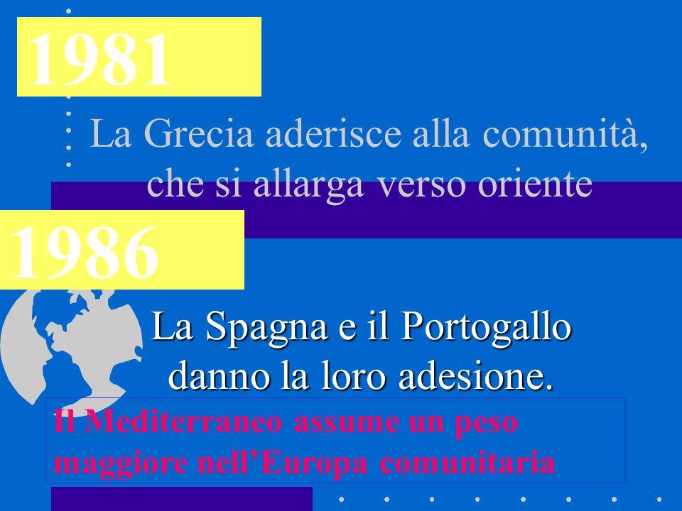 La Grecia aderisce alla comunità, che si allarga verso oriente La Spagna e il Portogallo danno la loro adesione. 1981 1986 Il Mediterraneo assume un p