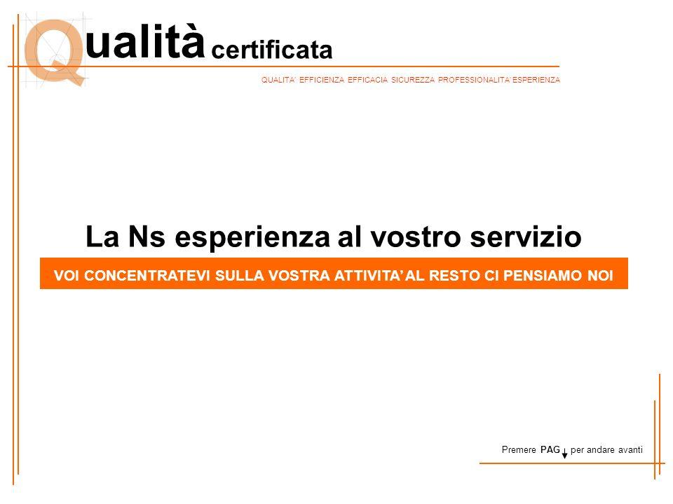 certificata ualità QUALITA' EFFICIENZA EFFICACIA SICUREZZA PROFESSIONALITA' ESPERIENZA La Ns esperienza al vostro servizio VOI CONCENTRATEVI SULLA VOS