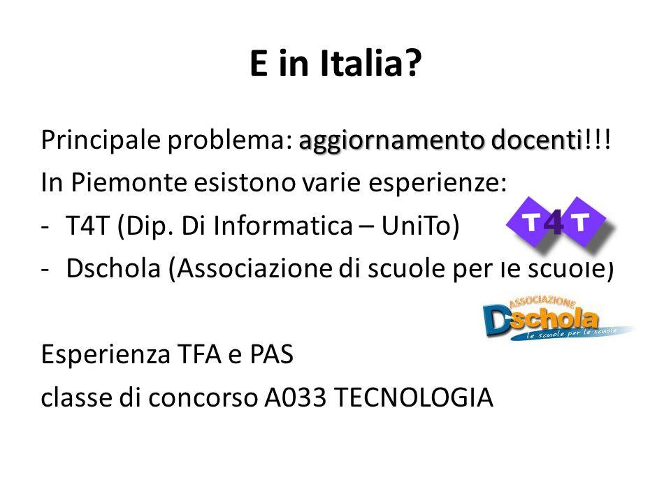 E in Italia. aggiornamento docenti Principale problema: aggiornamento docenti!!.