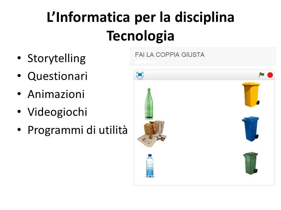 L'Informatica per la disciplina Tecnologia Storytelling Questionari Animazioni Videogiochi Programmi di utilità