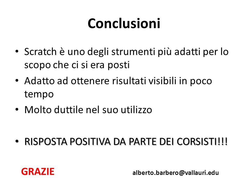 Conclusioni Scratch è uno degli strumenti più adatti per lo scopo che ci si era posti Adatto ad ottenere risultati visibili in poco tempo Molto duttile nel suo utilizzo RISPOSTA POSITIVA DA PARTE DEI CORSISTI!!.