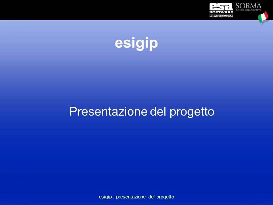 esigip : presentazione del progetto Obiettivi del progetto Realizzare uno strumento che consenta di compiere un salto in avanti nell'area del controllo e gestione della produzione.