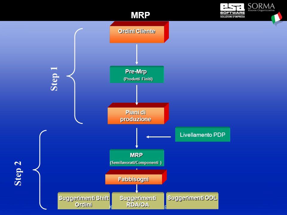 esigip : presentazione del progetto Ordini Cliente Piani di produzione Pre-Mrp (Prodotti Finiti) (Prodotti Finiti) MRP (Semilavorati/Componenti ) Suggerimenti ODL SuggerimentiRDA/OA Suggerimenti Shift Ordini Livellamento PDP Step 1 Step 2 Fabbisogni MRP