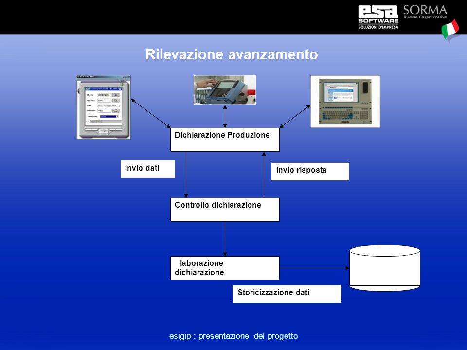esigip : presentazione del progetto Rilevazione avanzamento Dichiarazione Produzione Controllo dichiarazione Invio dati Invio risposta Elaborazione dichiarazione Storicizzazione dati
