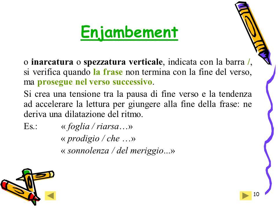 10 Enjambement o inarcatura o spezzatura verticale, indicata con la barra /, si verifica quando la frase non termina con la fine del verso, ma prosegue nel verso successivo.