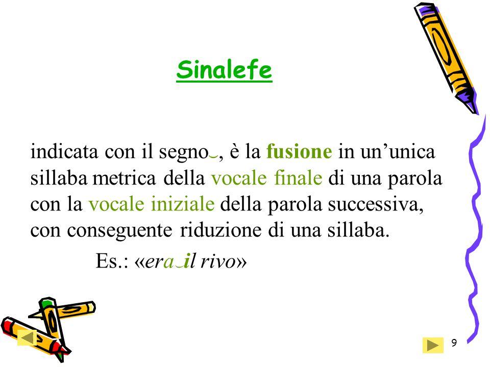 9 Sinalefe indicata con il segno , è la fusione in un'unica sillaba metrica della vocale finale di una parola con la vocale iniziale della parola successiva, con conseguente riduzione di una sillaba.