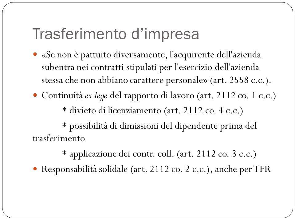 Trasferimento d'impresa Obbligo di informazione scritta (art.