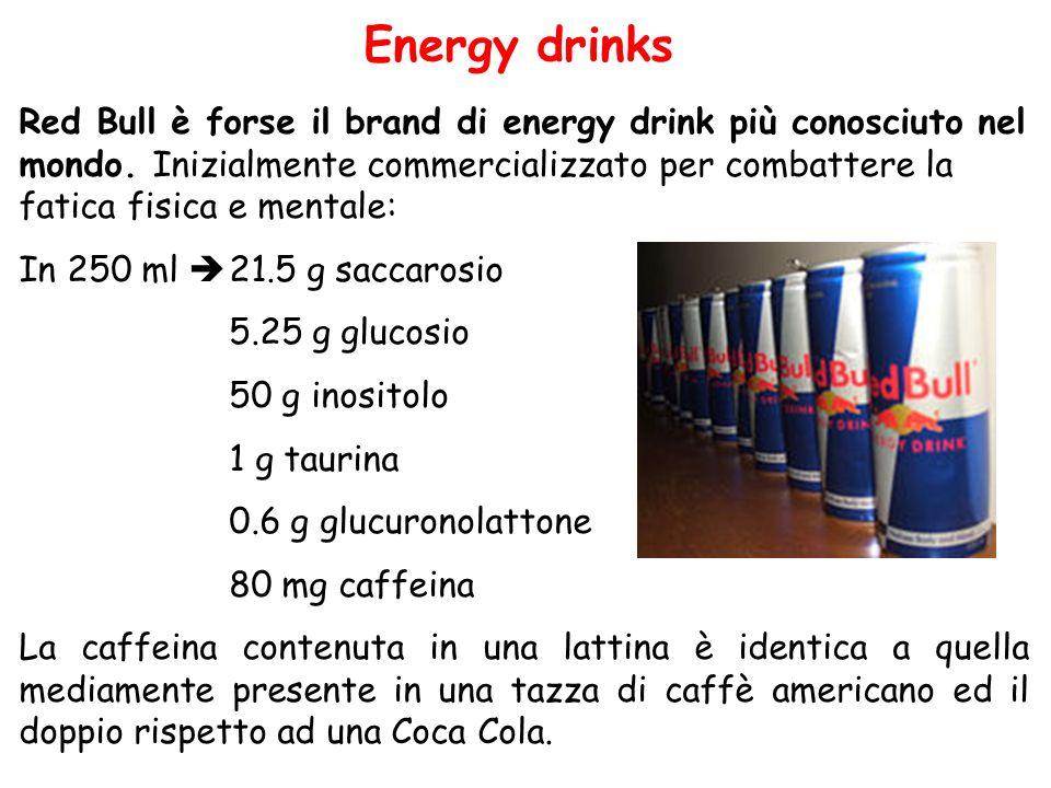 Energy drinks Red Bull è forse il brand di energy drink più conosciuto nel mondo. Inizialmente commercializzato per combattere la fatica fisica e ment