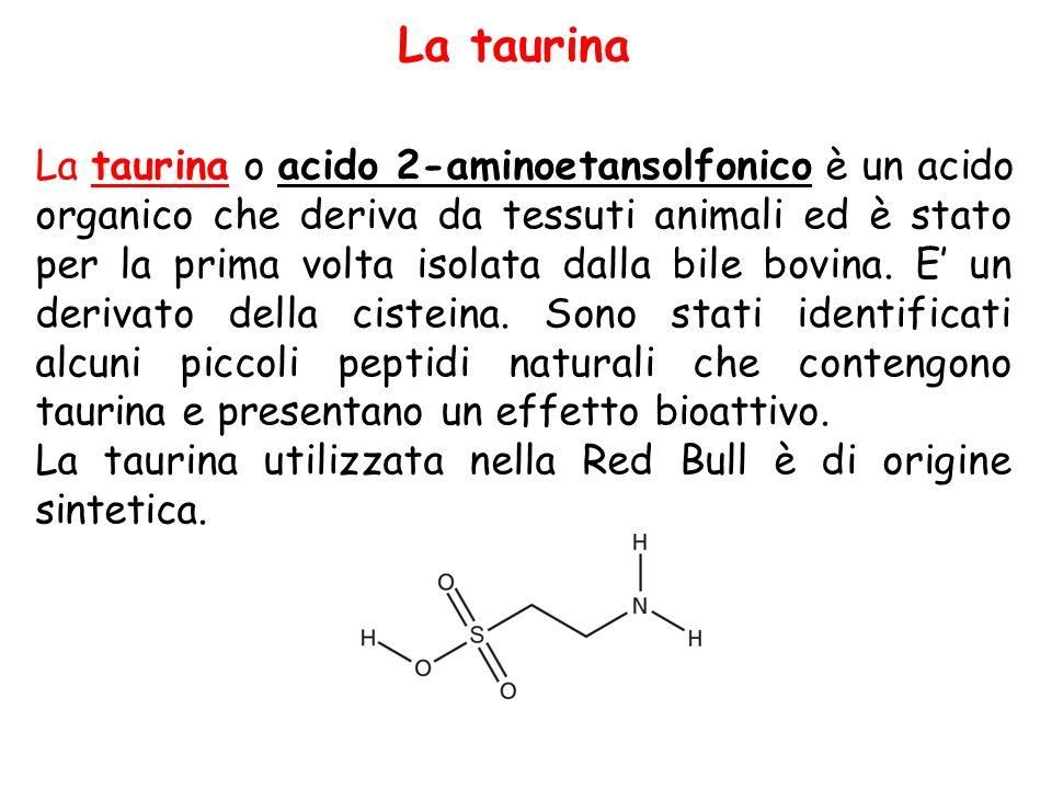 La taurina o acido 2-aminoetansolfonico è un acido organico che deriva da tessuti animali ed è stato per la prima volta isolata dalla bile bovina. E'