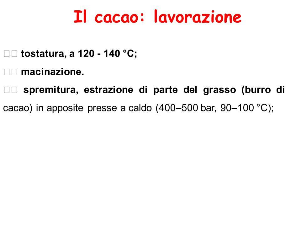 Il cacao: lavorazione tostatura, a 120 - 140 °C; macinazione. spremitura, estrazione di parte del grasso (burro di cacao) in apposite presse a caldo (