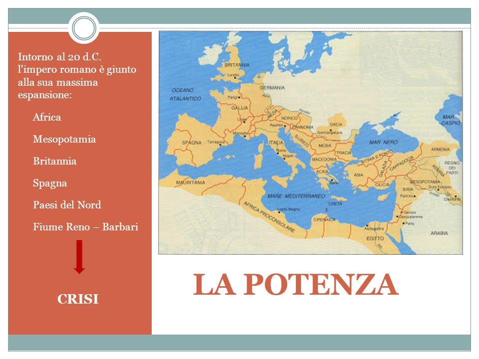LA POTENZA Intorno al 20 d.C. l'impero romano è giunto alla sua massima espansione: Africa Mesopotamia Britannia Spagna Paesi del Nord Fiume Reno – Ba