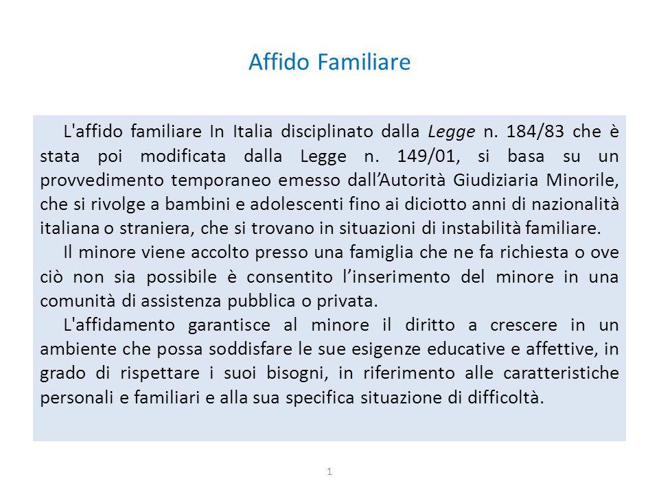 Affido Familiare L affido familiare In Italia disciplinato dalla Legge n.