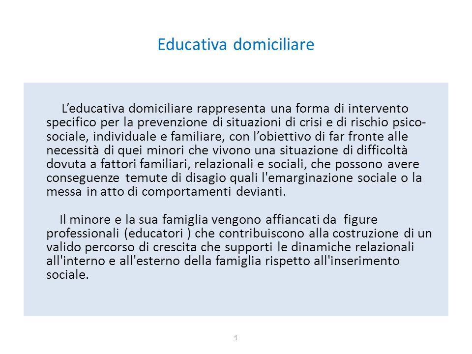Educativa domiciliare L'educativa domiciliare rappresenta una forma di intervento specifico per la prevenzione di situazioni di crisi e di rischio psi