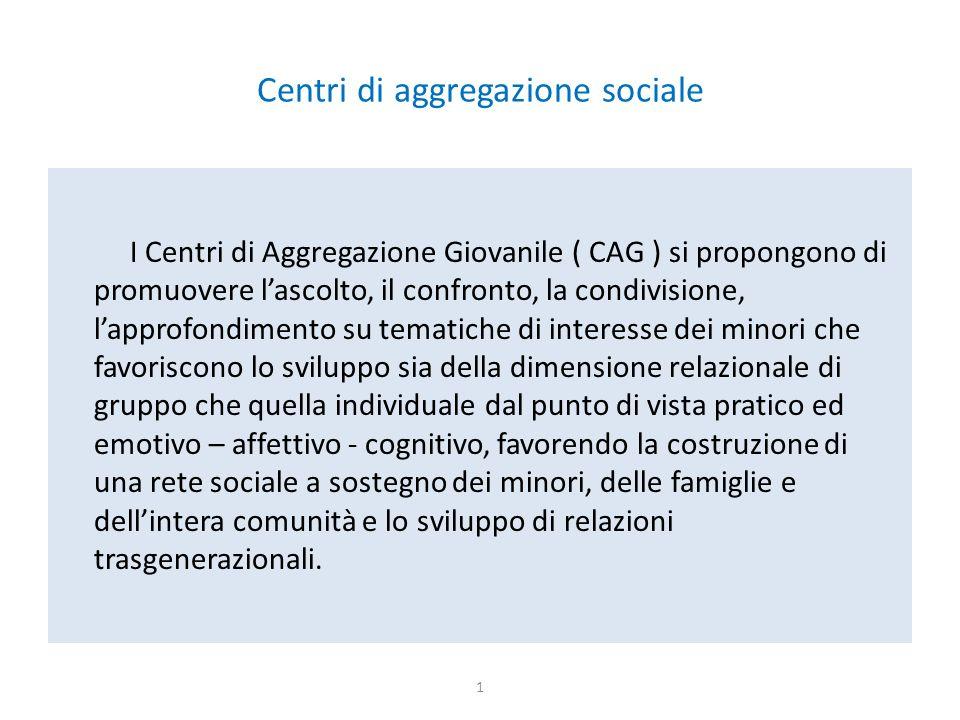 Centri di aggregazione sociale I Centri di Aggregazione Giovanile ( CAG ) si propongono di promuovere l'ascolto, il confronto, la condivisione, l'appr