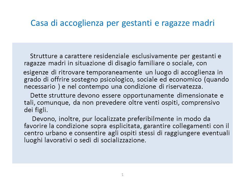 Casa di accoglienza per gestanti e ragazze madri Strutture a carattere residenziale esclusivamente per gestanti e ragazze madri in situazione di disag