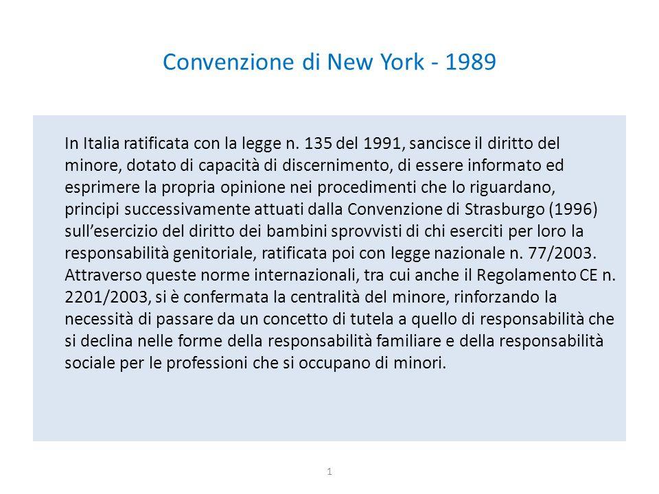 Convenzione di New York - 1989 In Italia ratificata con la legge n. 135 del 1991, sancisce il diritto del minore, dotato di capacità di discernimento,