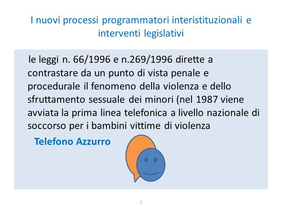 I nuovi processi programmatori interistituzionali e interventi legislativi le leggi n.