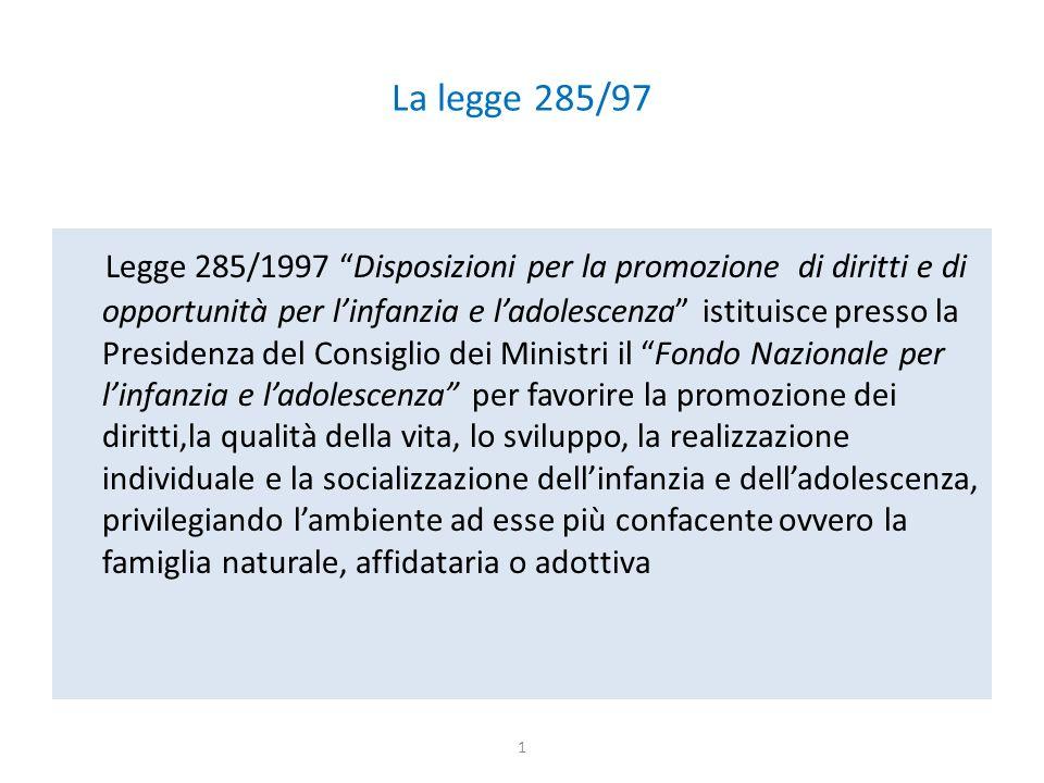 """La legge 285/97 Legge 285/1997 """"Disposizioni per la promozione di diritti e di opportunità per l'infanzia e l'adolescenza"""" istituisce presso la Presid"""