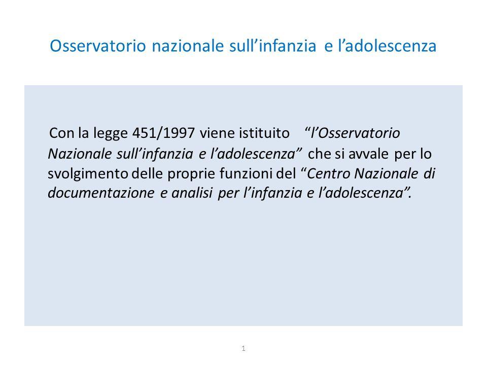 """Osservatorio nazionale sull'infanzia e l'adolescenza Con la legge 451/1997 viene istituito """"l'Osservatorio Nazionale sull'infanzia e l'adolescenza"""" ch"""