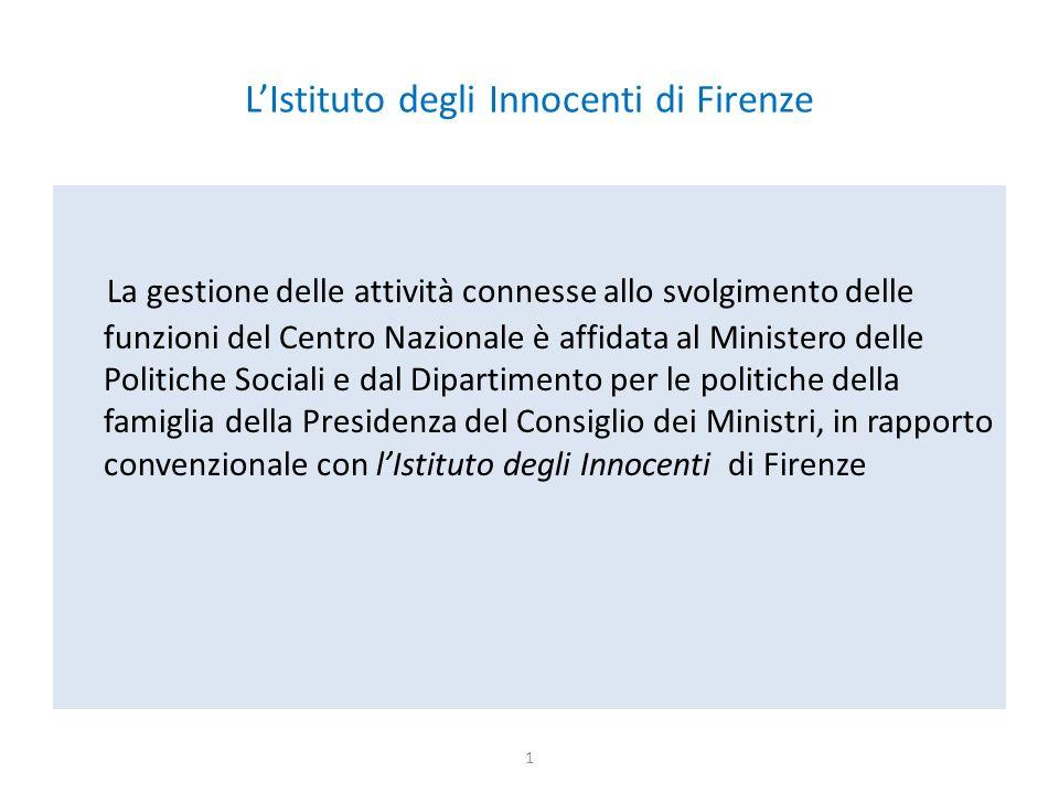 L'Istituto degli Innocenti di Firenze La gestione delle attività connesse allo svolgimento delle funzioni del Centro Nazionale è affidata al Ministero