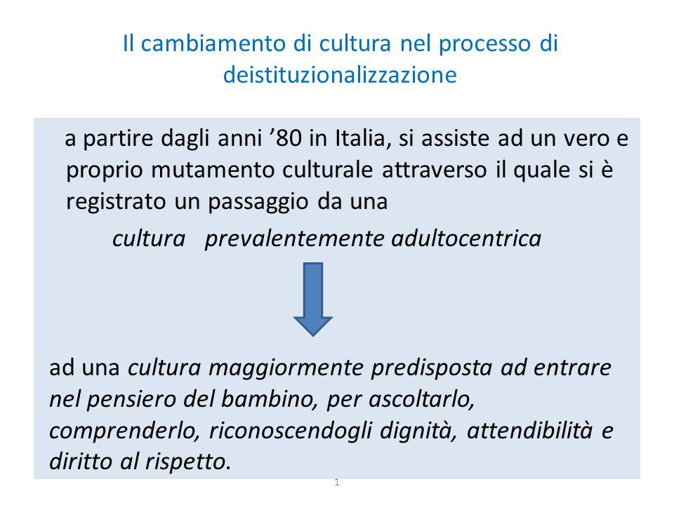 Il cambiamento di cultura nel processo di deistituzionalizzazione a partire dagli anni '80 in Italia, si assiste ad un vero e proprio mutamento cultur