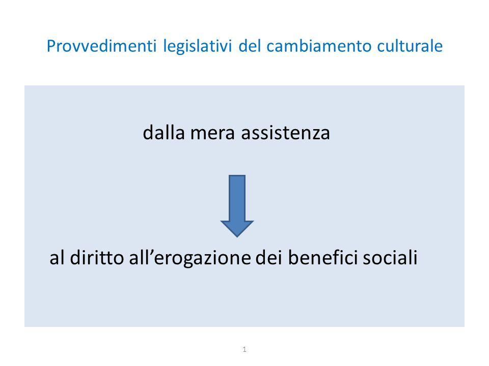 Provvedimenti legislativi del cambiamento culturale dalla mera assistenza al diritto all'erogazione dei benefici sociali 1