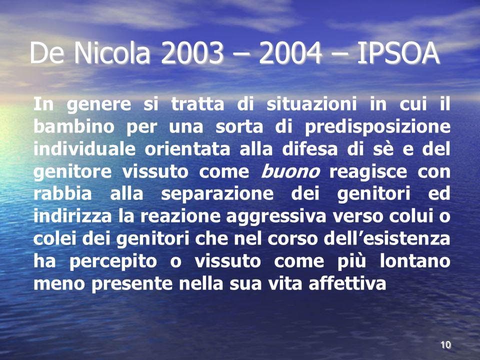 De Nicola 2003 – 2004 – IPSOA In genere si tratta di situazioni in cui il bambino per una sorta di predisposizione individuale orientata alla difesa d